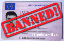 Totting up points Driving Licence ban